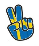 Hippy Style PEACE Hand With Sweden Swedish Country Flag Motif External Vinyl Car Sticker 90x65mm